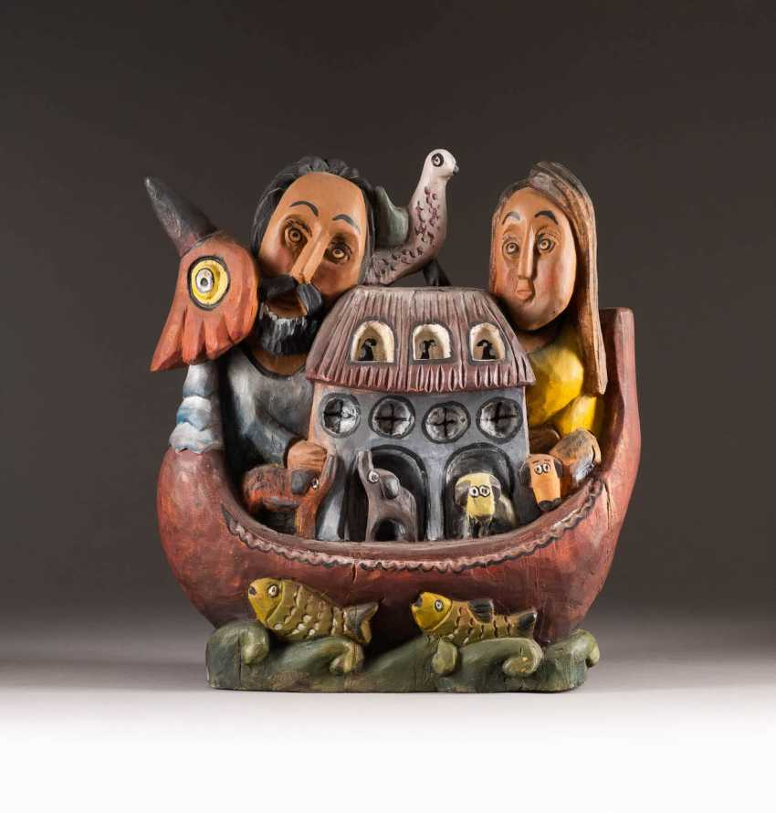 A NAIVE image-based sculptor Active in the 20th century. Century. NOAH'S ARK - photo 1