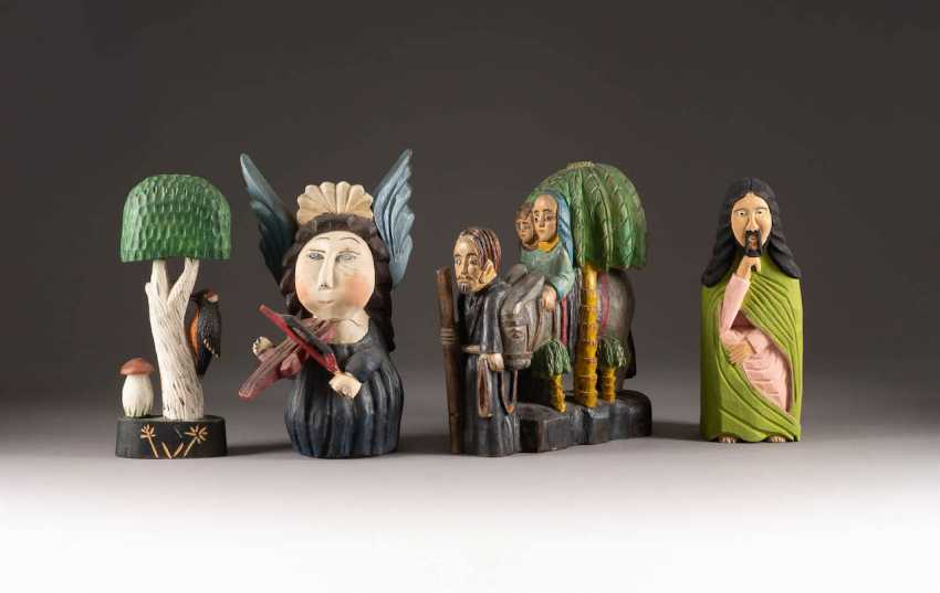 NAIVE image sculptor Active in the 20th century. Century in Poland. SET OF FOUR NAIVE WOODEN FIGURES - photo 1
