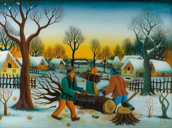 IVAN POPEC 1929 - 1994. WINTER LANDSCAPE WITH BRUSHWOOD COLLECTORS - photo 1
