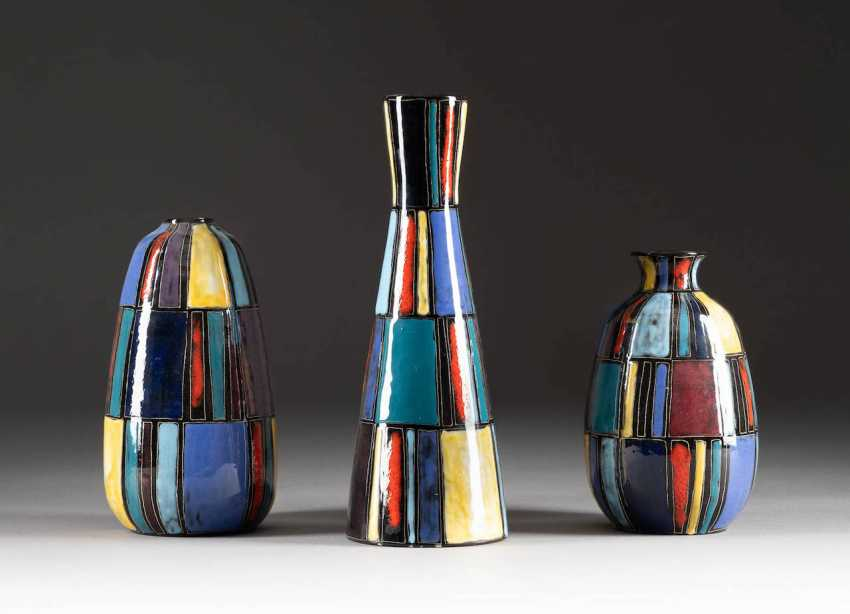 LUDWIG KLOPFER IN 1924 - 1977 MIXED LOT OF THREE RARE DESIGN VASES. Design: Germany, chrismccanncdrm art pottery, 1950s/1960s - photo 1