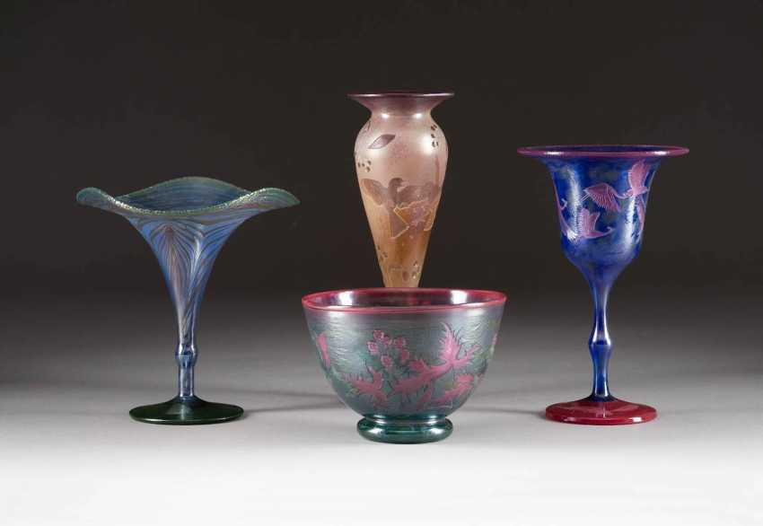SET OF FOUR GLASS OBJECTS. Execution: Germany, glass manufactory Schmid, Karl and Wolfgang Schmid, among others, 1980s/1990s - photo 1