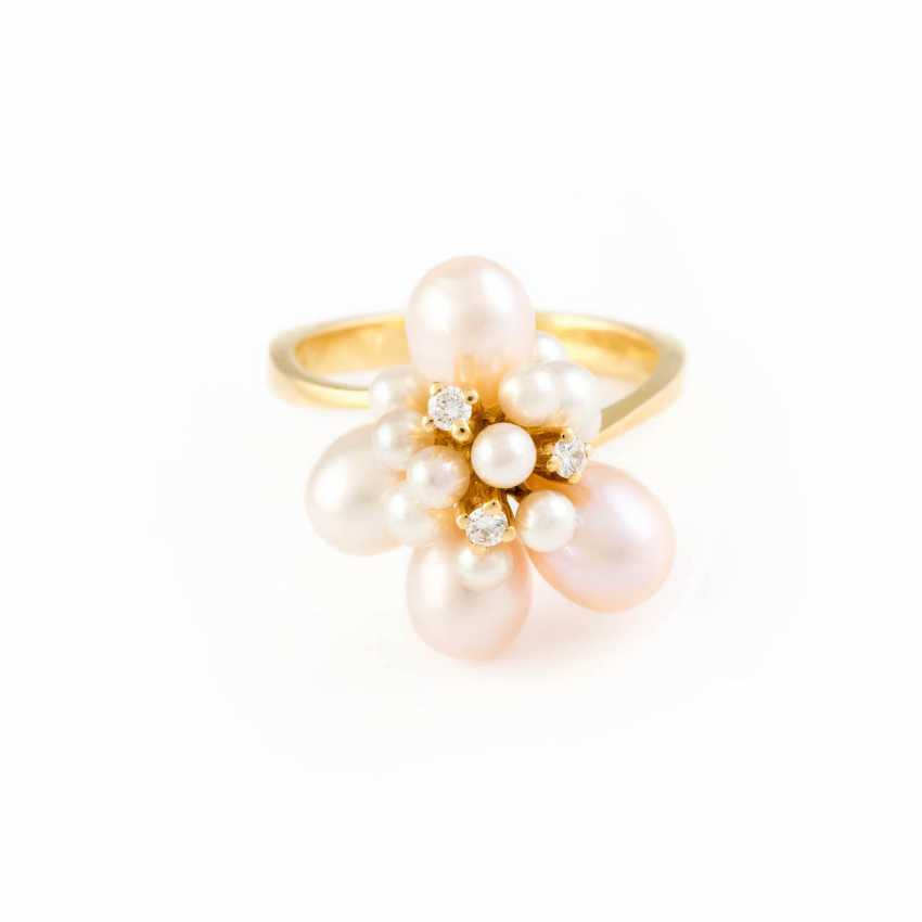 PEARL RING WITH DIAMOND TRIMMING - photo 1