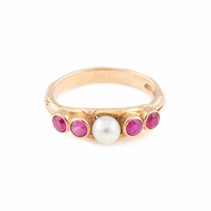 HISTORICAL RING WITH PEARL AND RUBY STOCKING - photo 1