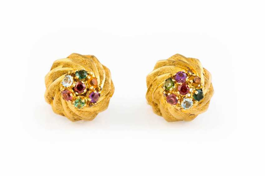 PAIR OF STUD EARRINGS WITH MULTICOLOR TRIM - photo 1