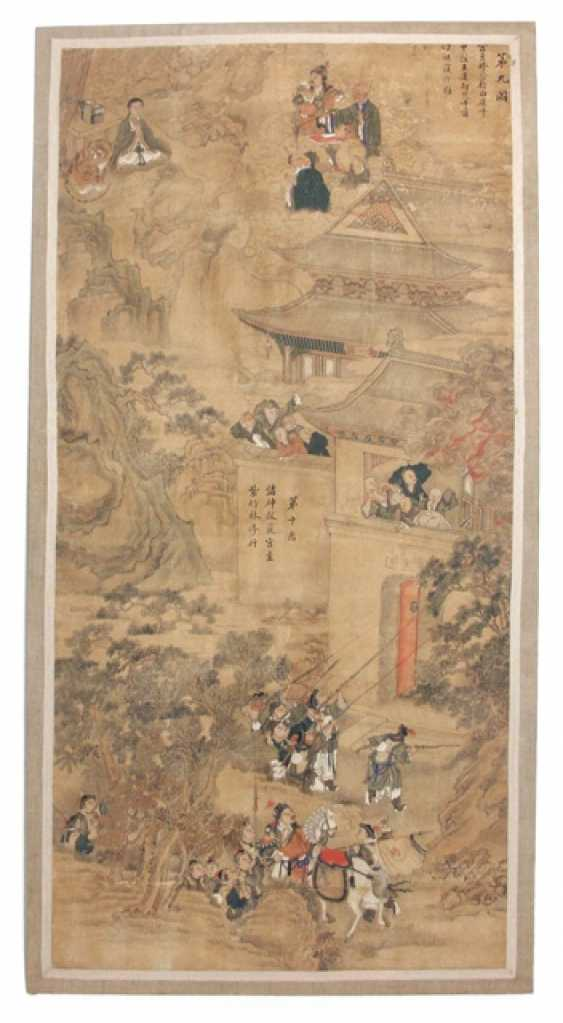 Large painting with the depiction of two scenes from Buddhist legend about Guanyin - photo 1
