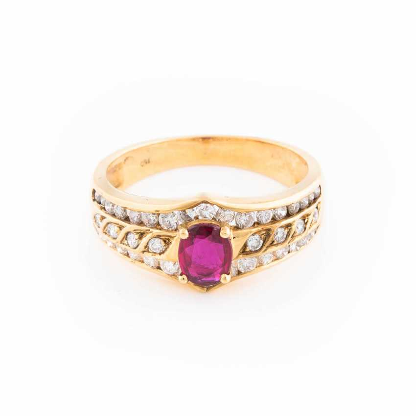 RUBY RING WITH DIAMOND TRIMMING - photo 1