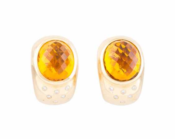 PAIR OF STUD EARRINGS WITH CITRINE AND DIAMONDS - photo 1