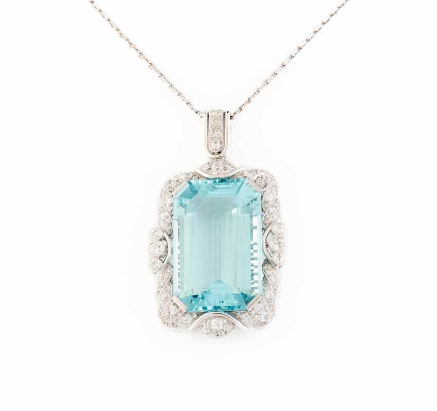 AQUAMARINE PENDANT WITH DIAMONDS - photo 1