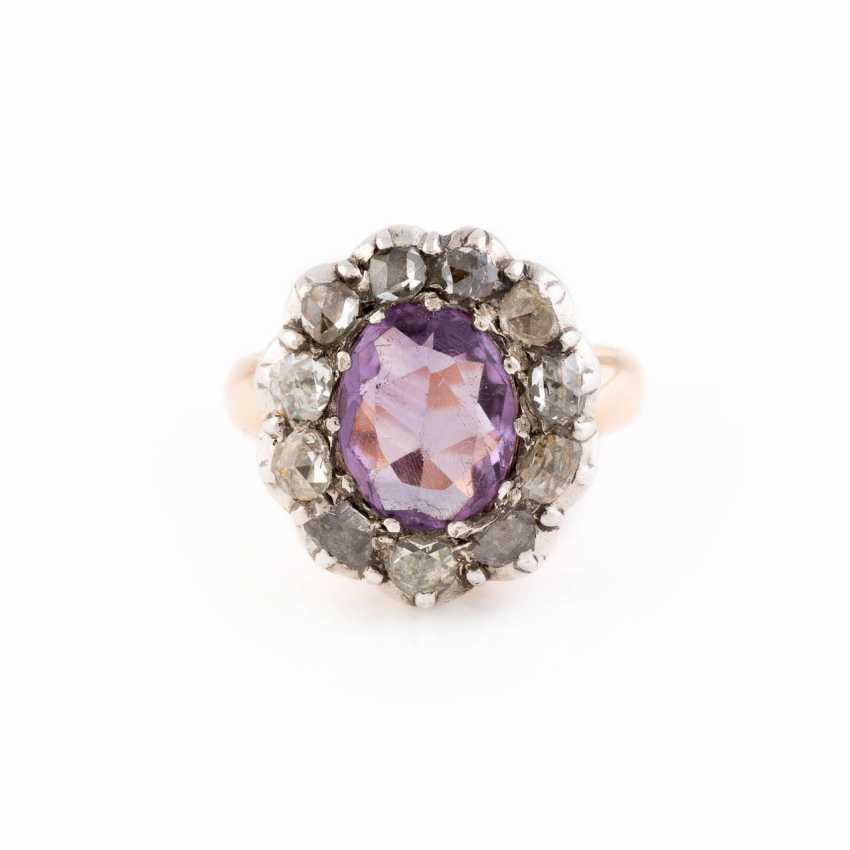 DIAMOND RING WITH AMETHYST - photo 1
