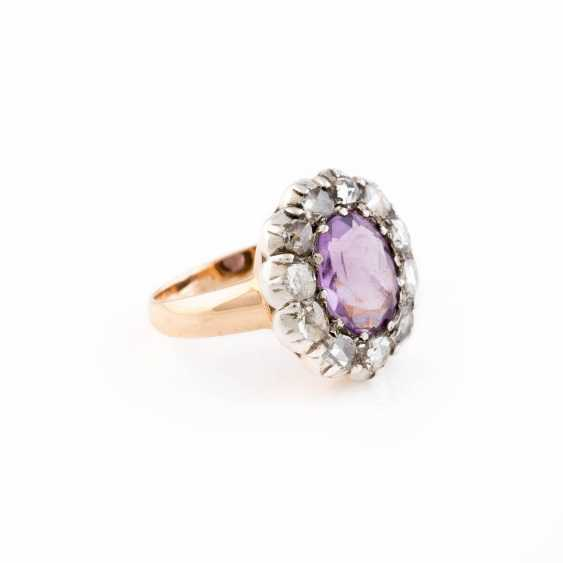 DIAMOND RING WITH AMETHYST - photo 2
