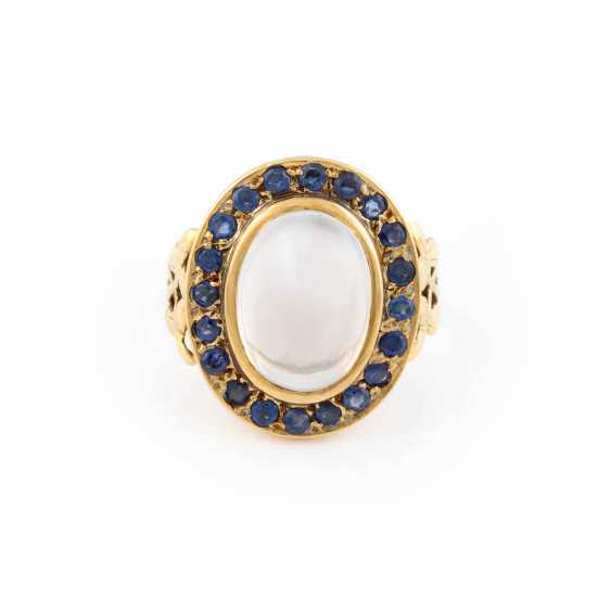 MOONSTONE RING WITH SAPPHIRE TRIM - photo 1