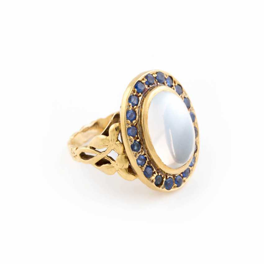 MOONSTONE RING WITH SAPPHIRE TRIM - photo 2