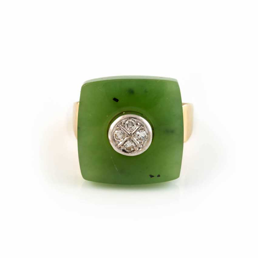NEPHRITE RING WITH DIAMOND TRIM - photo 1