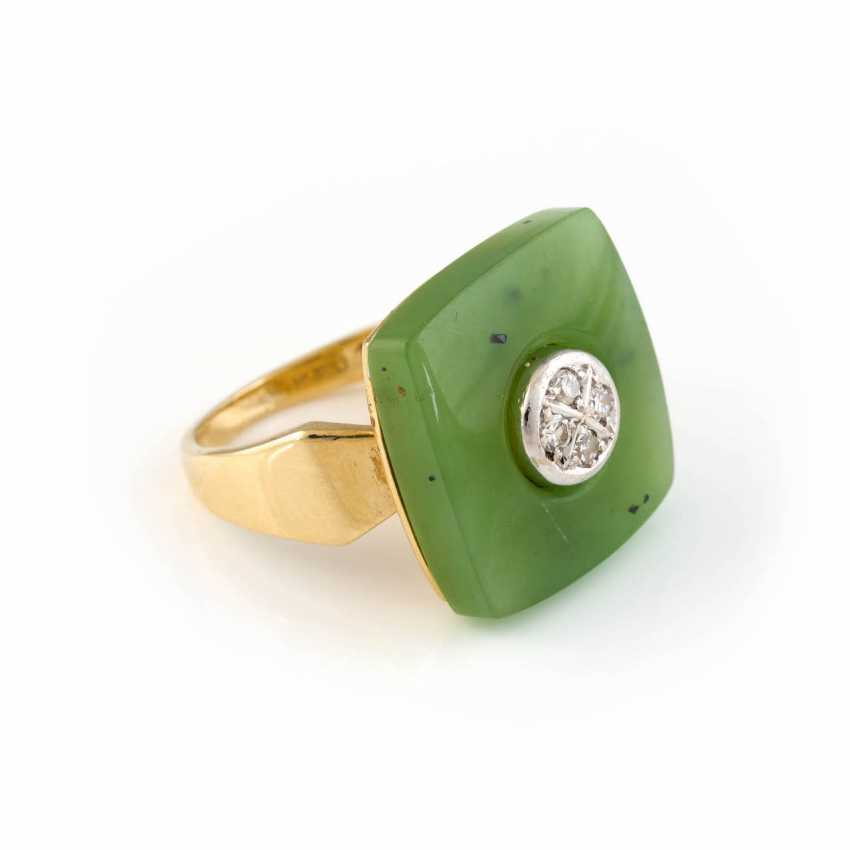 NEPHRITE RING WITH DIAMOND TRIM - photo 2