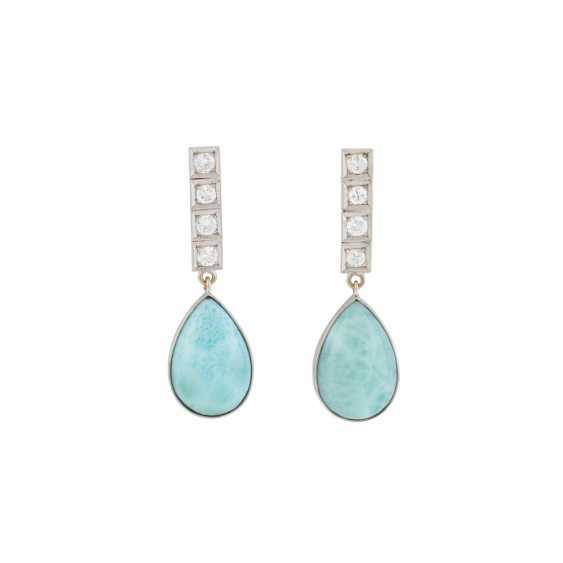 PAIR OF DROP EARRINGS WITH LARIMAR AND DIAMONDS - photo 1