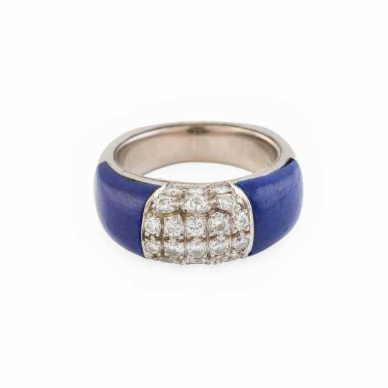 DIAMOND RING WITH LAPIS LAZULI - photo 1