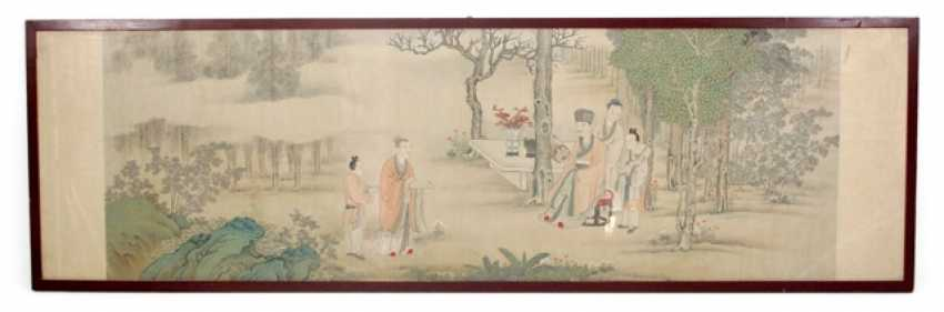 Anonymous cross-role representation of a taught scene in the garden, colors on silk - photo 1