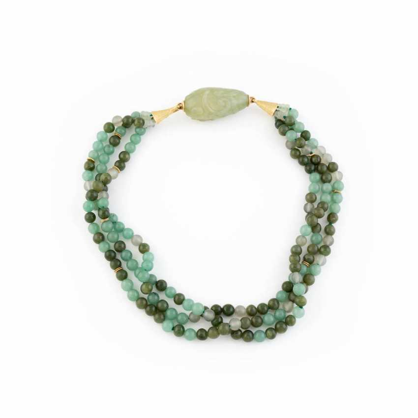 AVENTURINE NECKLACE WITH JADE CARVING - photo 1