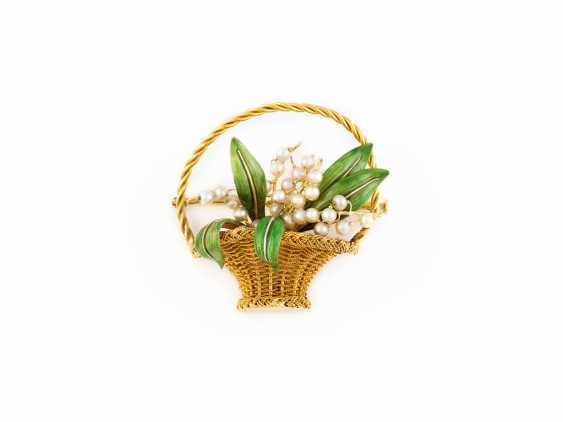 FLOWER BROOCH LILY OF THE VALLEY ENAMEL - photo 1