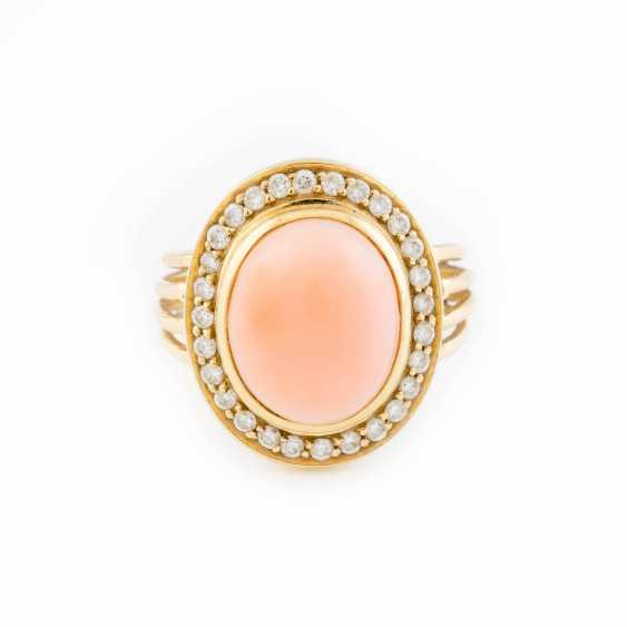 DIAMOND RING WITH ANGEL SKIN CORAL - photo 1