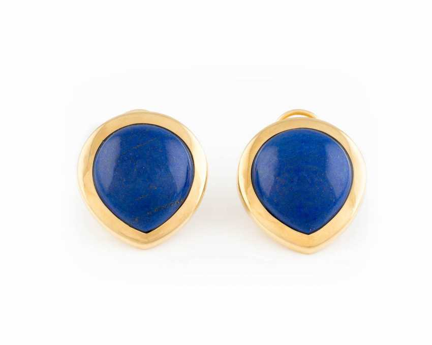 PAIR OF CLIP EARRINGS WITH LAPIS LAZULI - photo 1
