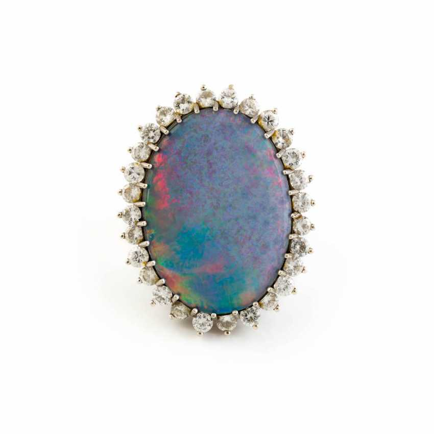 OPAL RING WITH DIAMONDS - photo 1