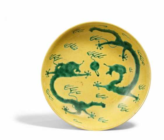 Yellow plate with dragon - photo 1