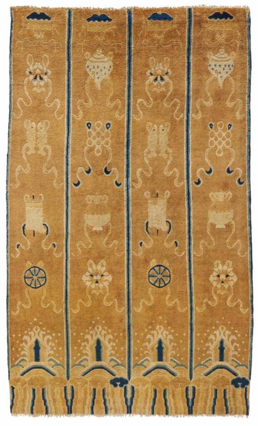 Rare pillar carpet with the Eight Buddhist treasures - photo 1