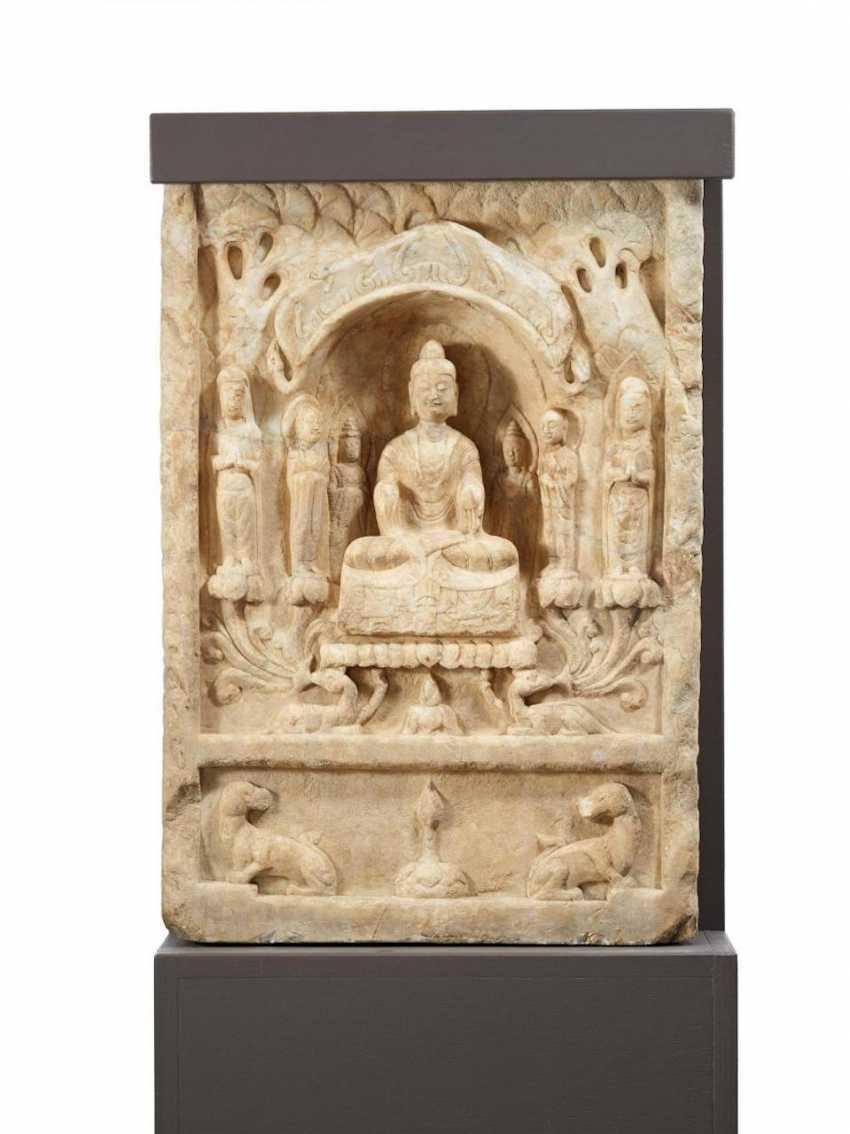 Stele with the Buddha, Bodhisattva and monks - photo 1