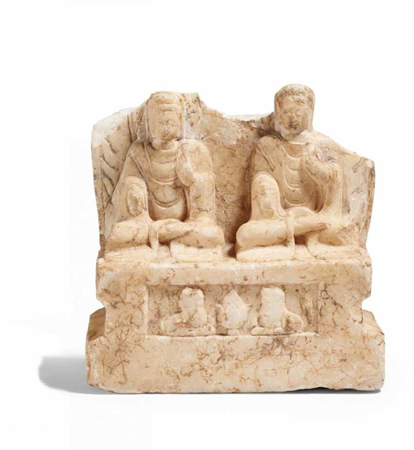 Stela fragment with two representations of the seated Buddha - photo 1