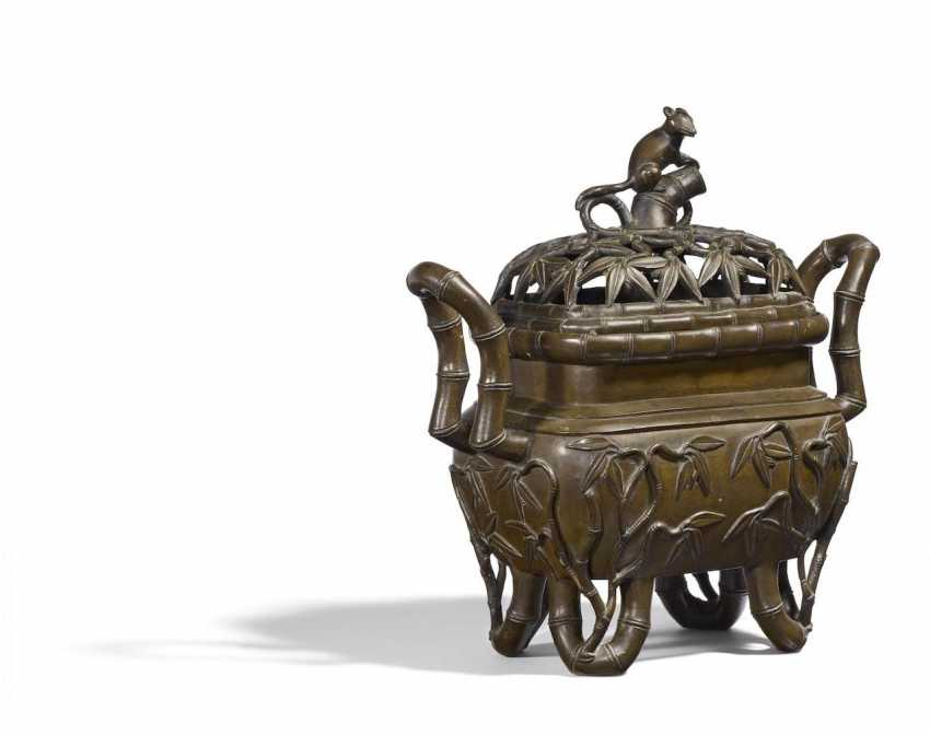 Large incense burner with bamboo and dormice - photo 1