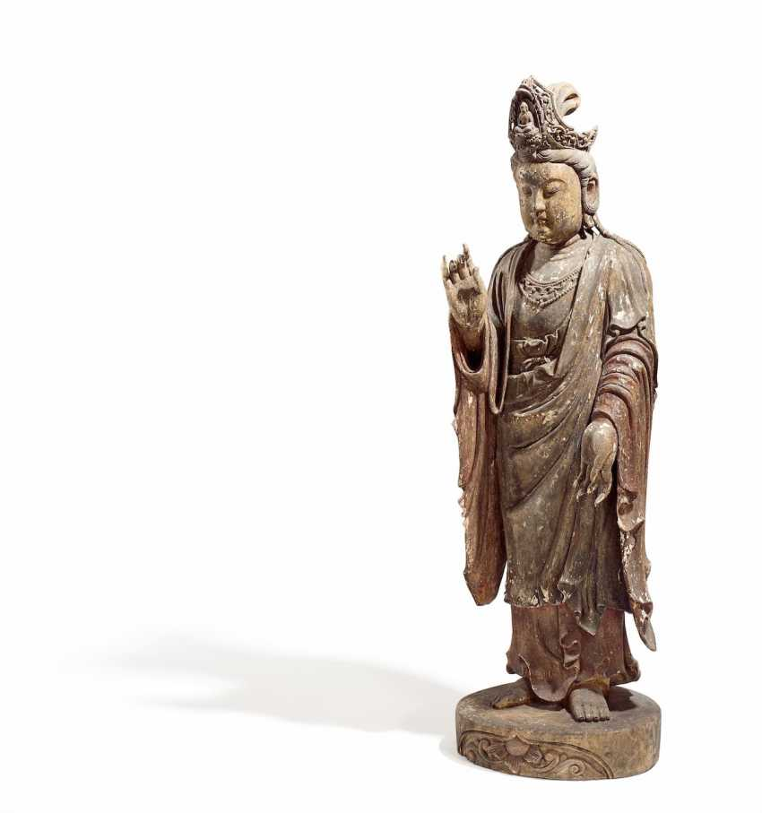 Almost life-size standing Guanyin - photo 1