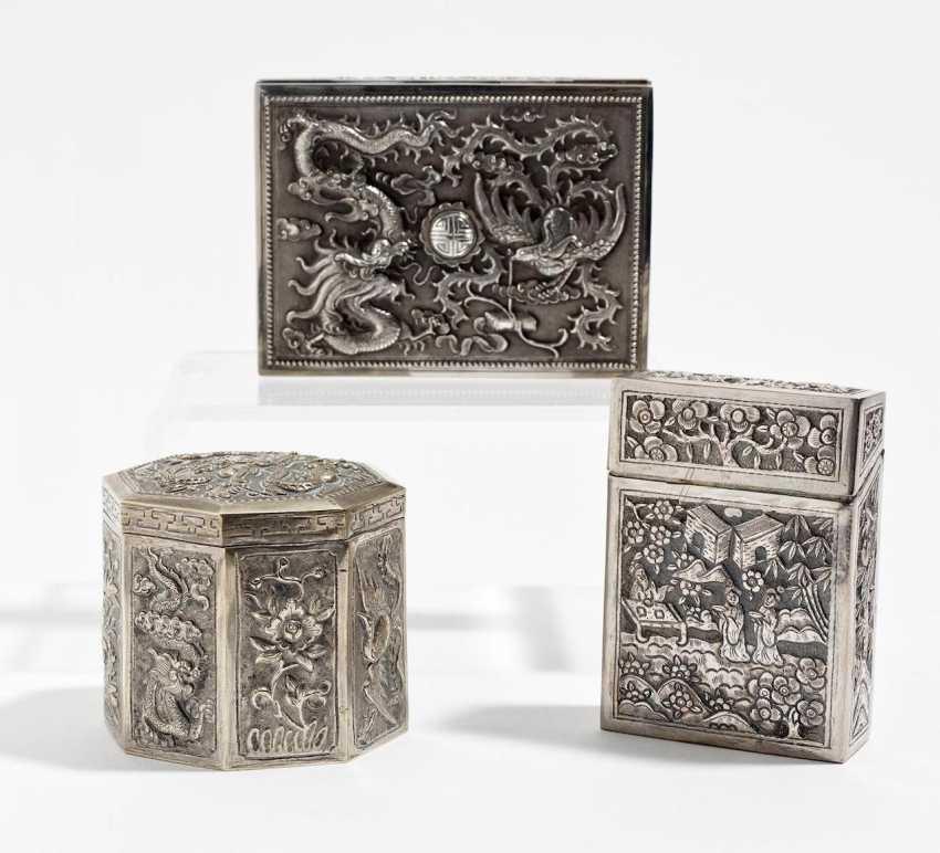 Octagonal box, flat case and a cigarette box - photo 1