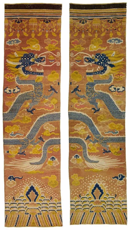 Rare Pair of pillar carpets with dragons - photo 1