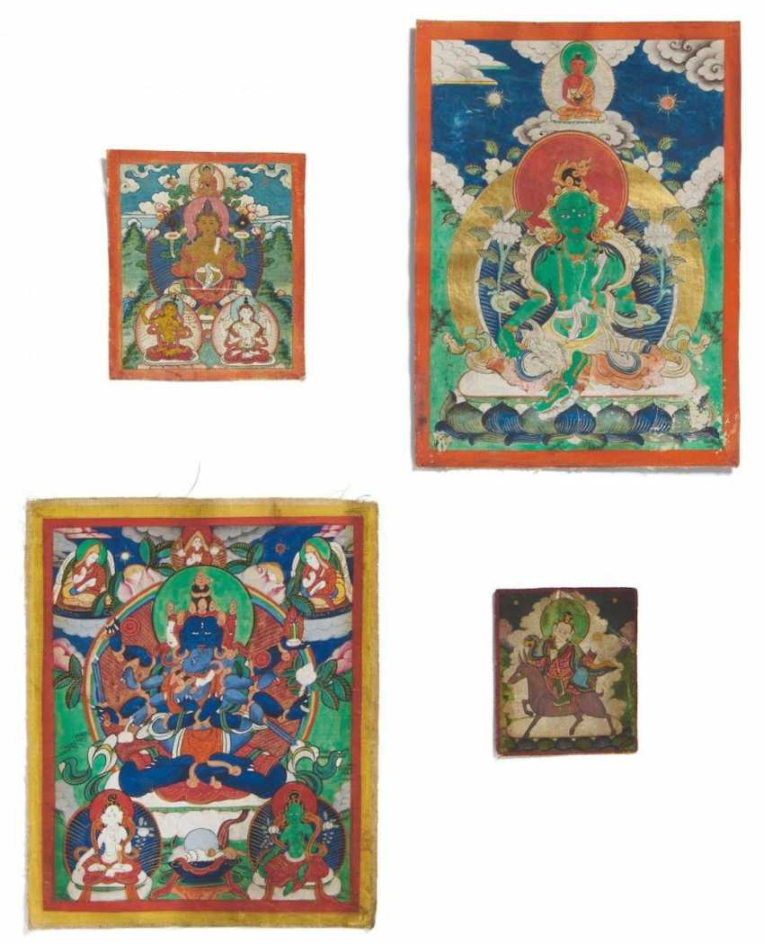 Two miniature Thangka and two Tsakli - photo 1