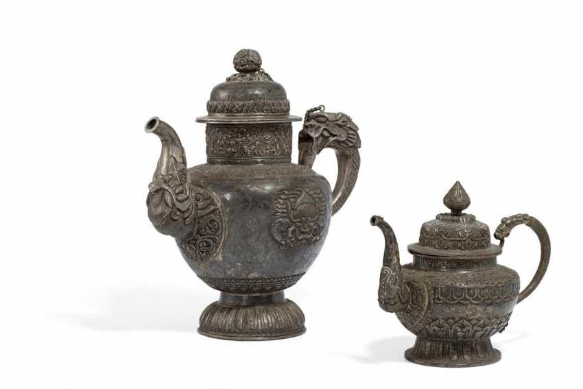 Two teapots with dragons and tendrils - photo 1