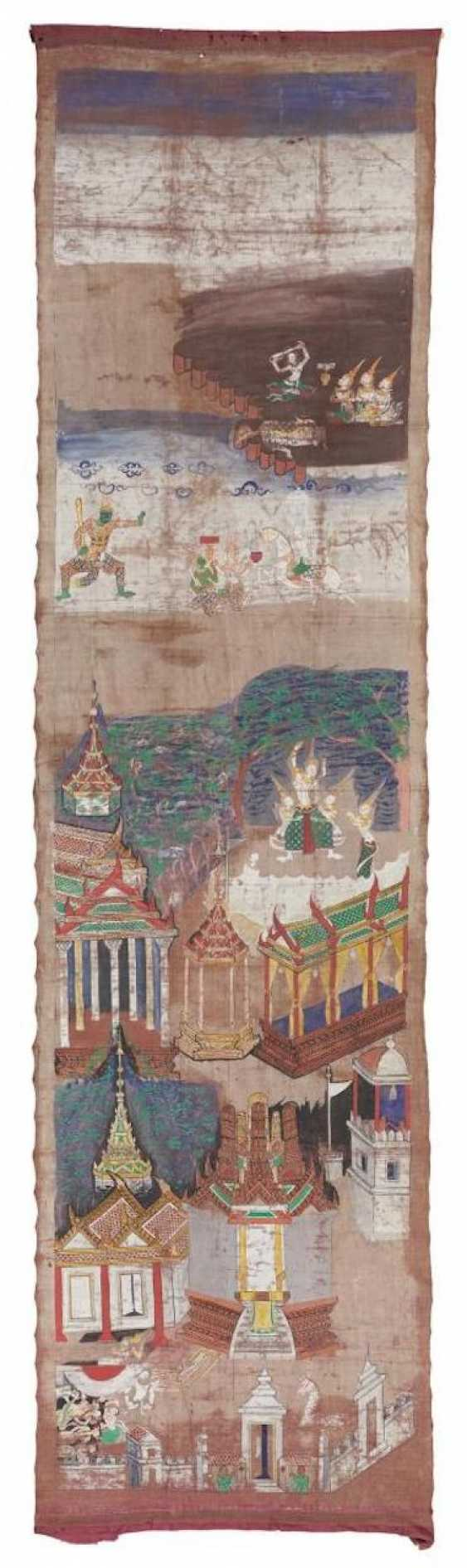 Rare long pa bai-hanging with Jataka scenes for a temple - photo 1