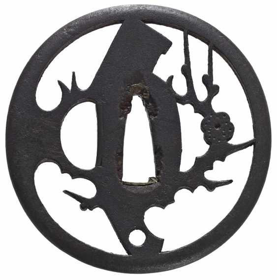 Tôsen sukashi tsuba with blossoming plum branch and a sickle - photo 1