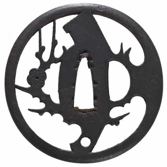 Tôsen sukashi tsuba with blossoming plum branch and a sickle - photo 2
