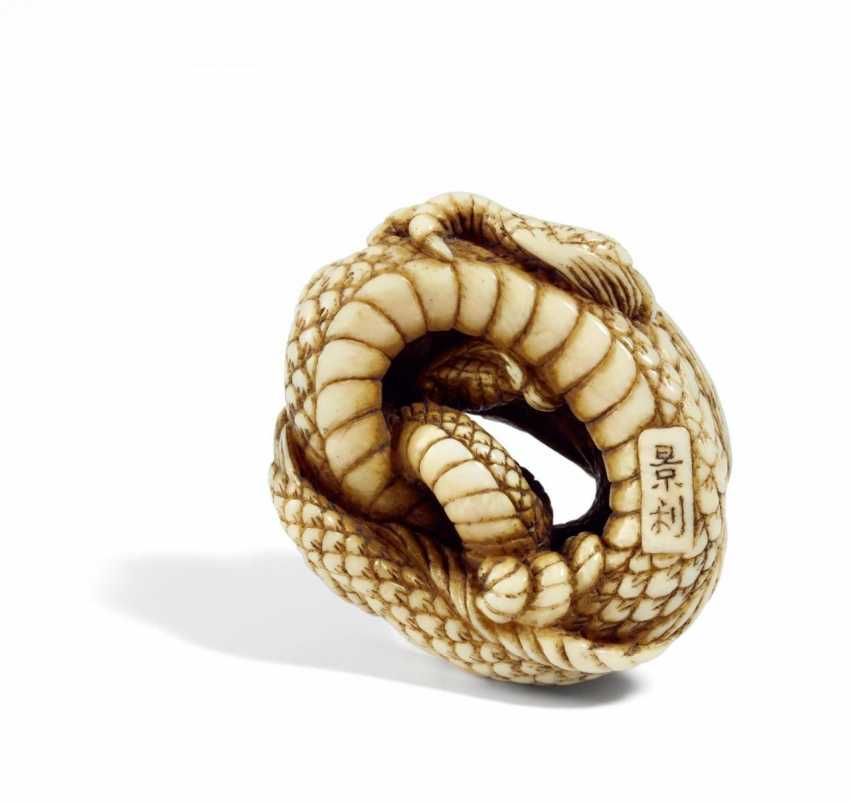 Important Netsuke of a curled-up dragon - photo 2