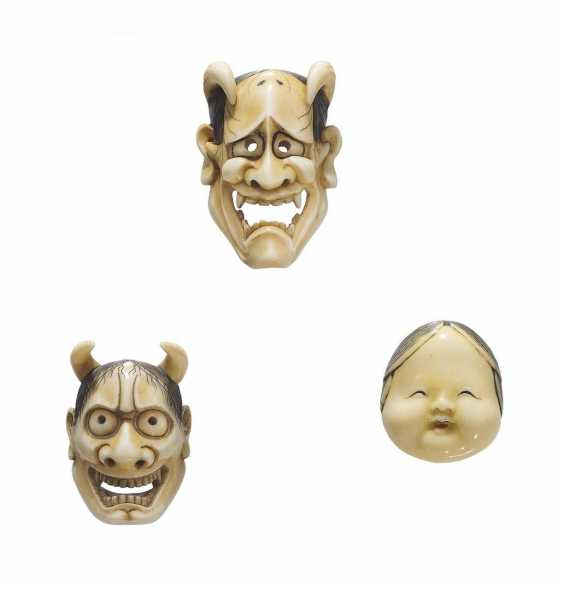 Three Netsuke: Hannya and Okame mask - photo 1