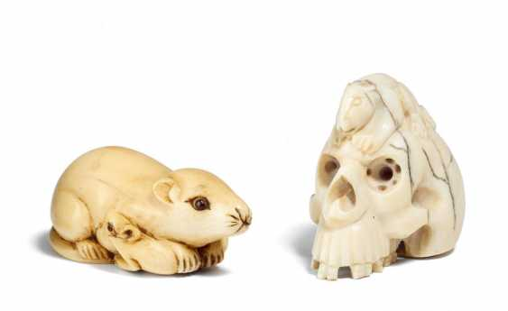 Two Netsuke: rat with two boys and skull - photo 1