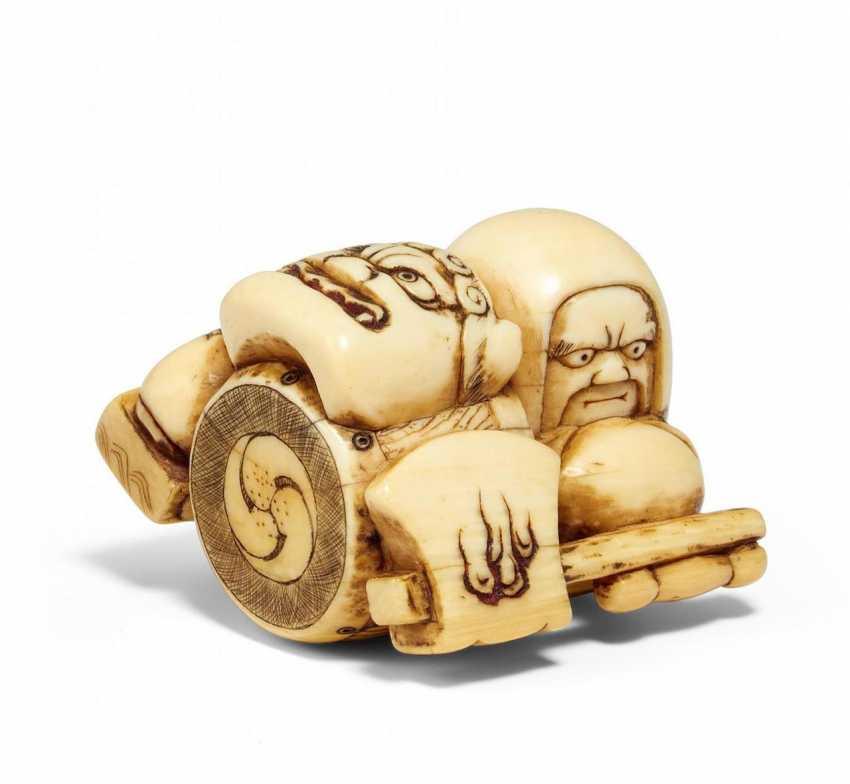 Netsuke: group of lucky verheißendem children's toys - photo 1