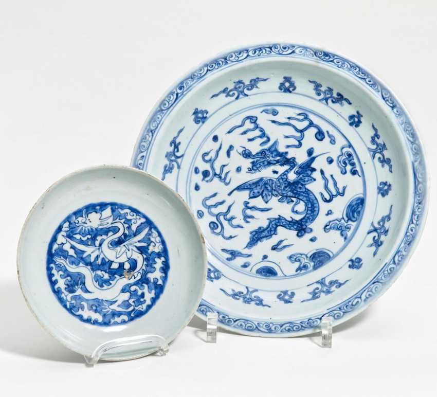 Large and small plate with ying dragons - photo 1