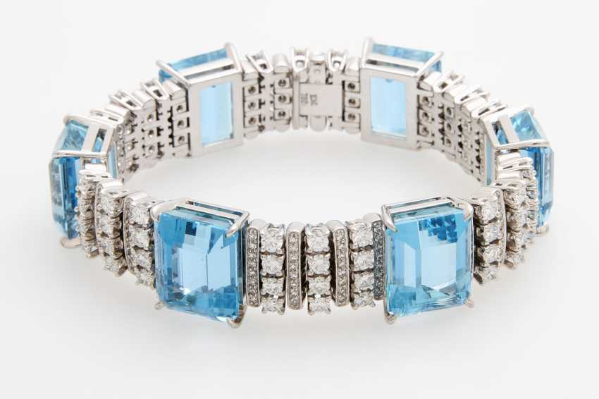 Bracelet with 6 high-fine Aqua marine - photo 3