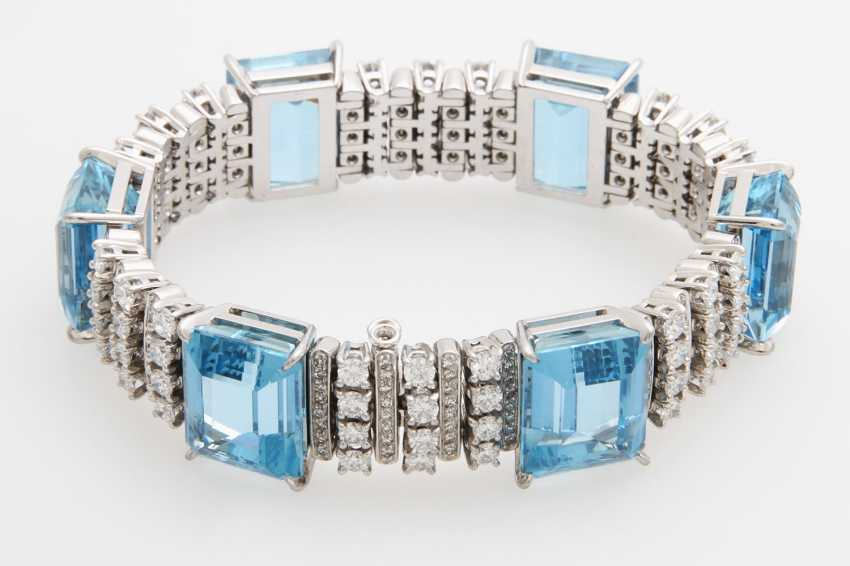 Bracelet with 6 high-fine Aqua marine - photo 1