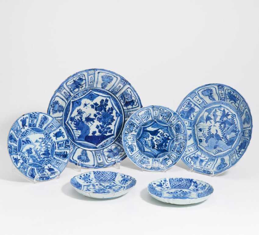 Four blue and white Kraak dish - photo 1