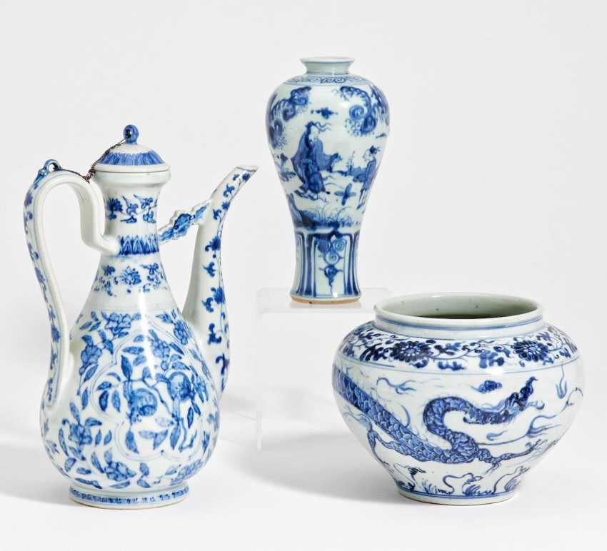 Large handle jug with pomegranate, Vase with scholars and pot with dragon - photo 1