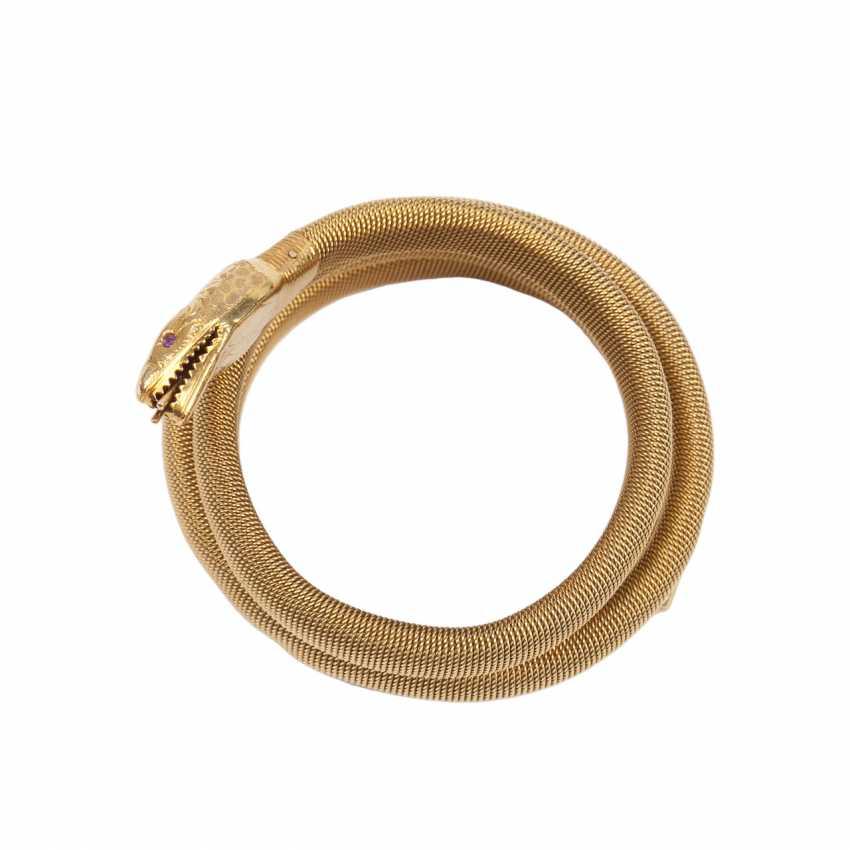 Gold bracelet shaped like a snake with ruby - photo 2