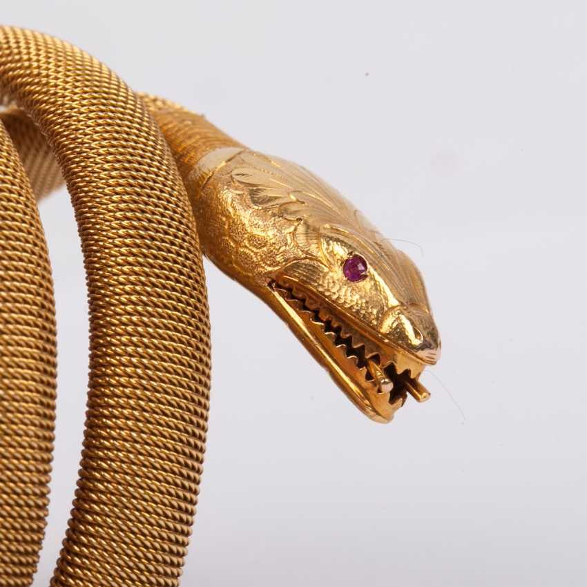 Gold bracelet shaped like a snake with ruby - photo 3